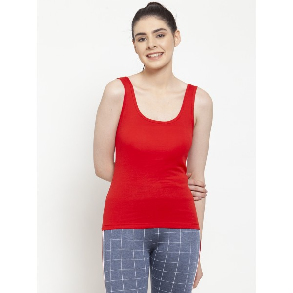 Red U-neck Tank top