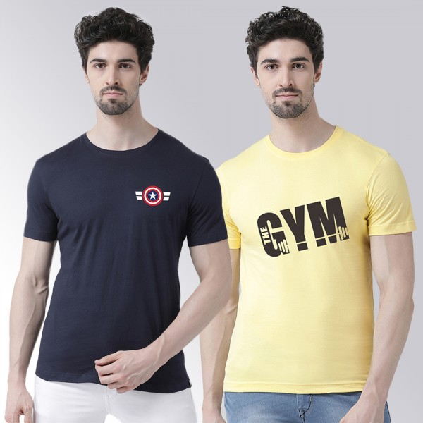 Gym Captain yellow Navy Round Neck Half Sleeve T-s...