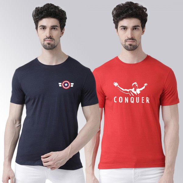 Captain Conquer Navy Red Round Neck Half Sleeve T-shirt