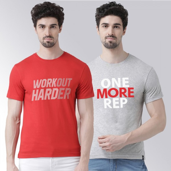 Grey Red One More workout T-...