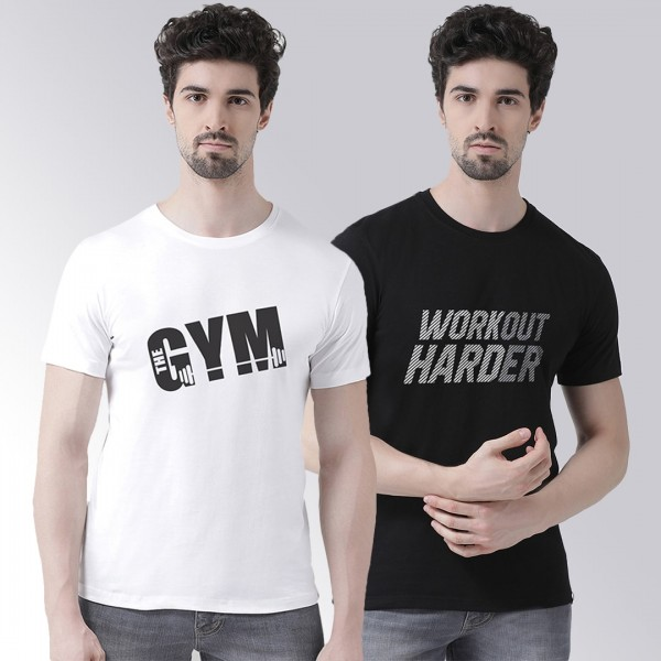Black White Workout Gym T-sh...
