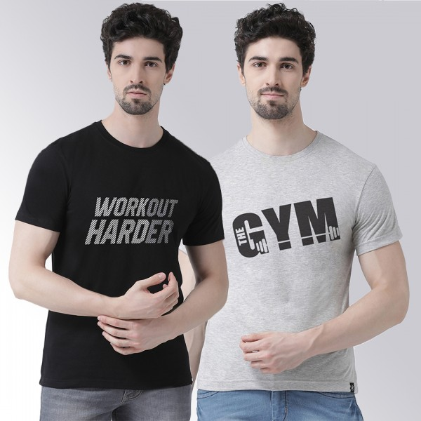 Black Grey Workout Gym T-shi...