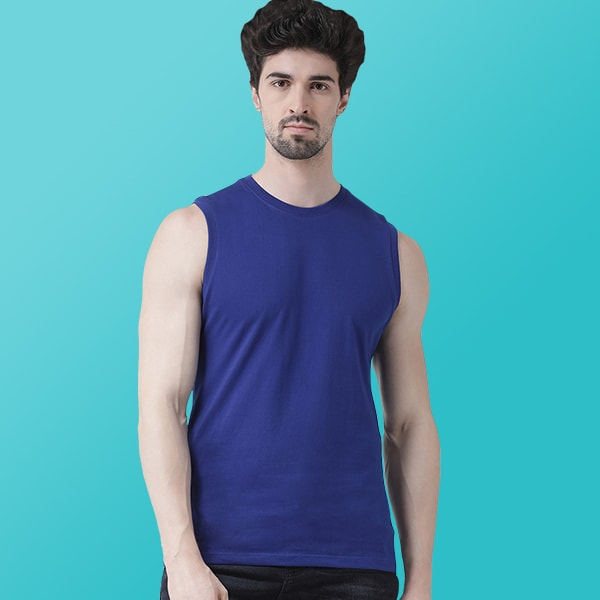 Blue Sleeveless T-shirt