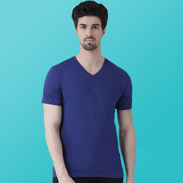 Blue V-Neck T-shirt