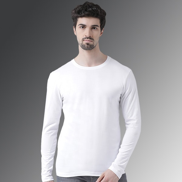 White Round neck Full Sleeve...