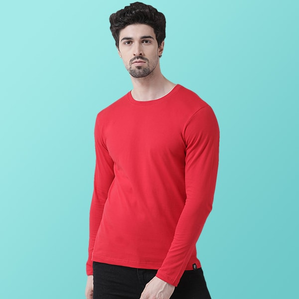 Red Round neck Full Sleeve T-shirt
