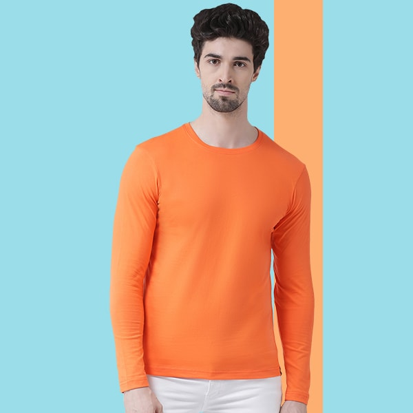 Orange Round neck Full Sleeve T-shirt