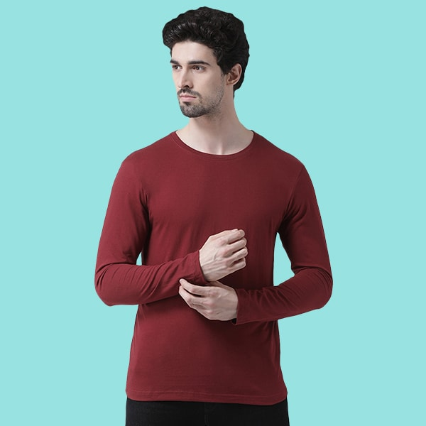 Maroon Round neck Full Sleev...