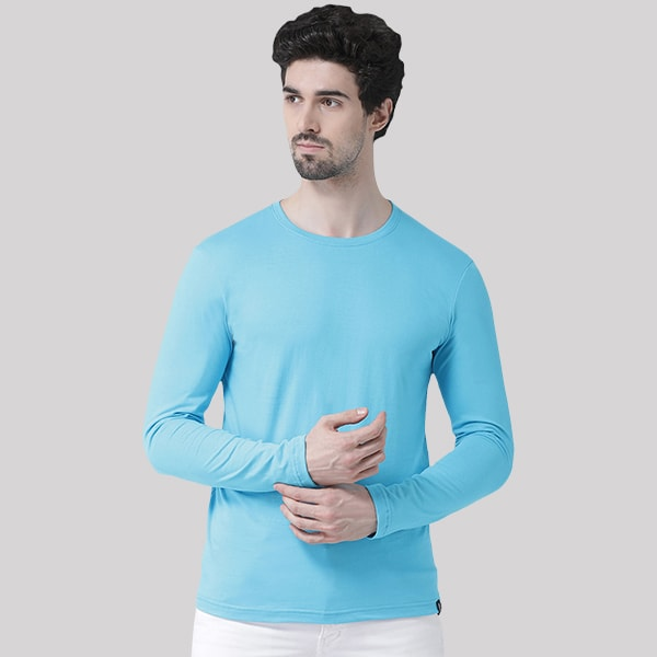 Turquiose Round neck Full Sleeve T-shirt