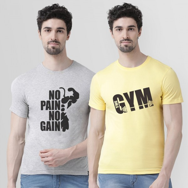 No pain and Gym Round neck T...