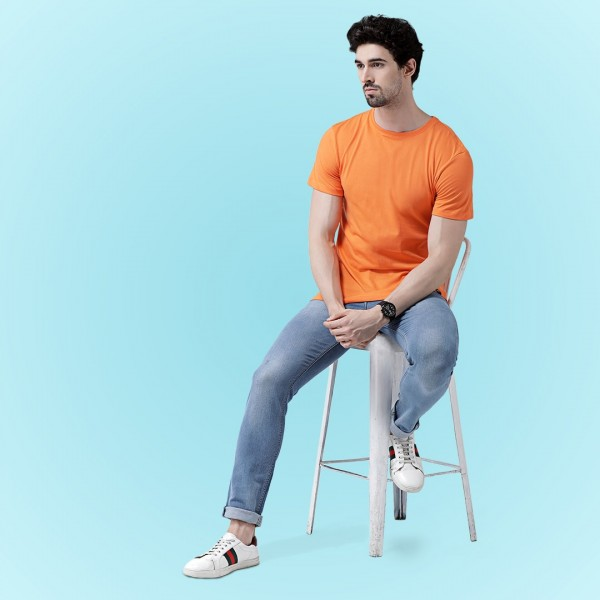 Orange Round neck T-shirt