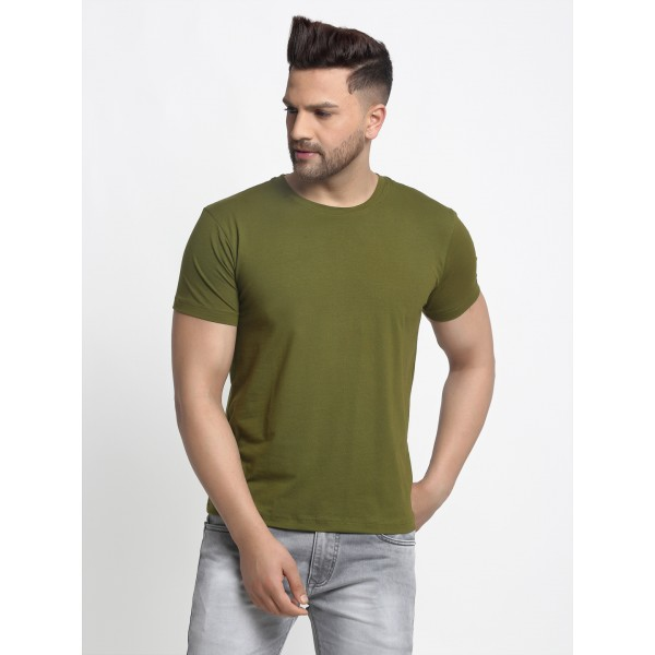 Olive Green Round neck T-shi...