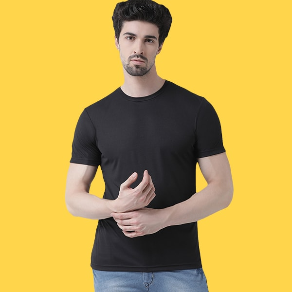 Nylon dry fit Black T-shirt