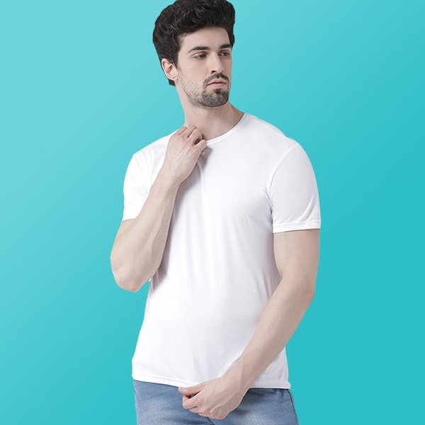 Nylon dry fit White T-shirt
